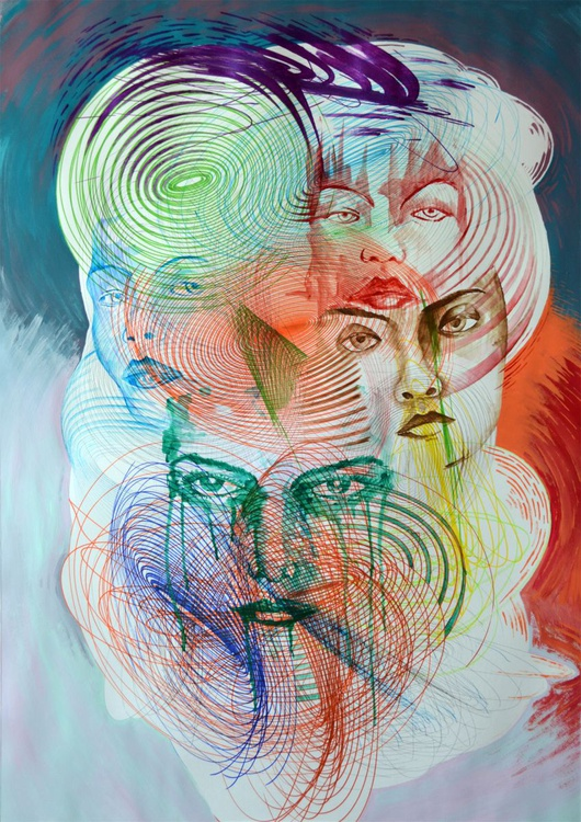 Vibrations Twister - Mixed Media Art On A1 Big Size Paper - Image 0
