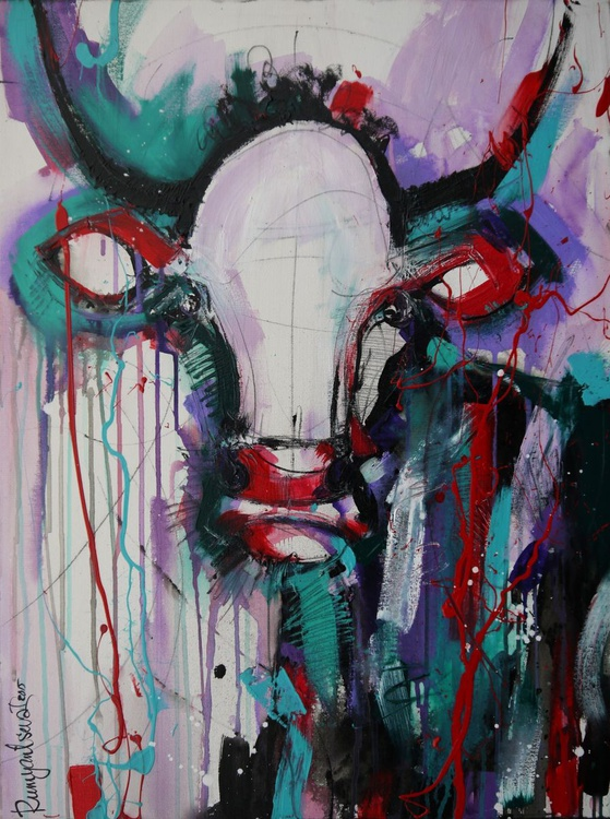 Funky Cow 3 - 80cm x 60cm, ready to hang - Image 0