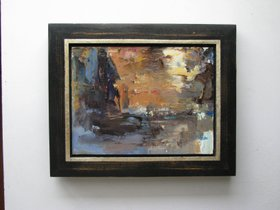 Moon Rise Abstract Original Oil Soft Muted Colors Framed by Albert P Hopkins