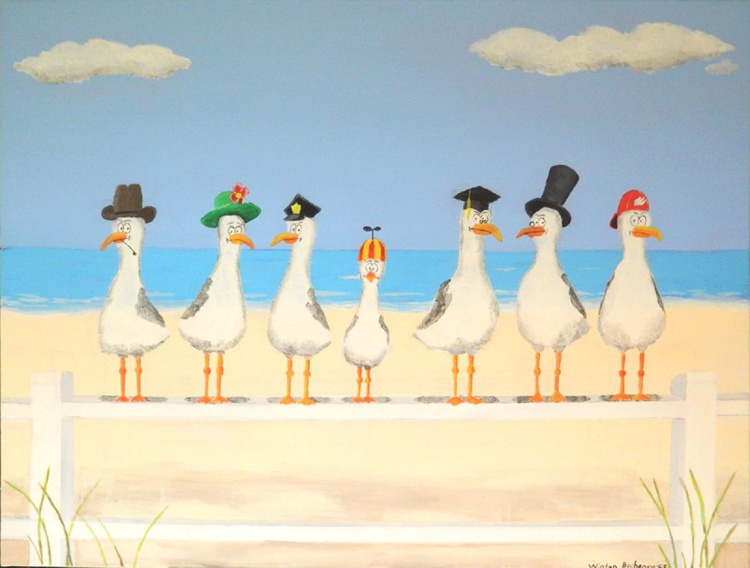 Seagulls With Hats - Image 0