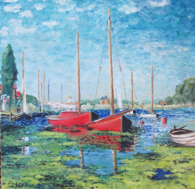"""""""AFTER MONET"""", Oil on Canvas, Boats, Watersport, Coastal, Sea, 16x16inch - Image 0"""