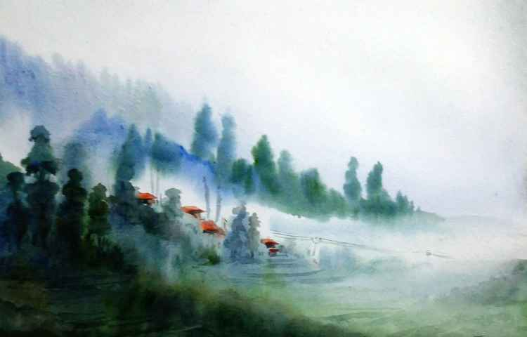 Foggy Mountain Village - Watercolor on Paper Painting -