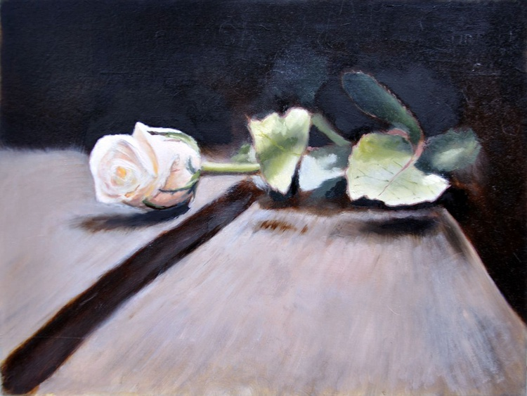 One white rose on the wooden table - Image 0