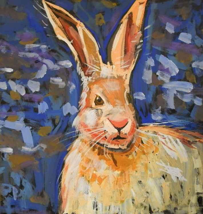 Hare, gouache painting 50x47 cm -