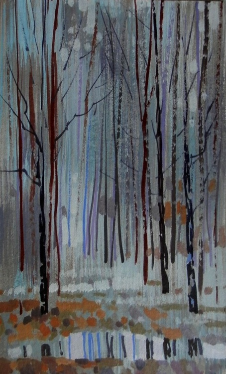 Silver Forest, original painting 30x19 cm - Image 0