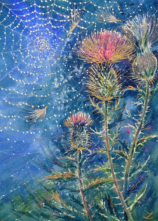 Spider Web on the Thistle - Image 0