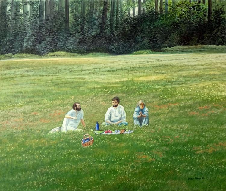 Déjeuner sur L'herbes - Ölbild 60 x 50 cm - Image 0