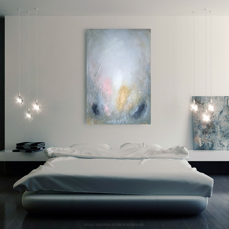 Textured abstract painting neutral colours 2 - Image 0