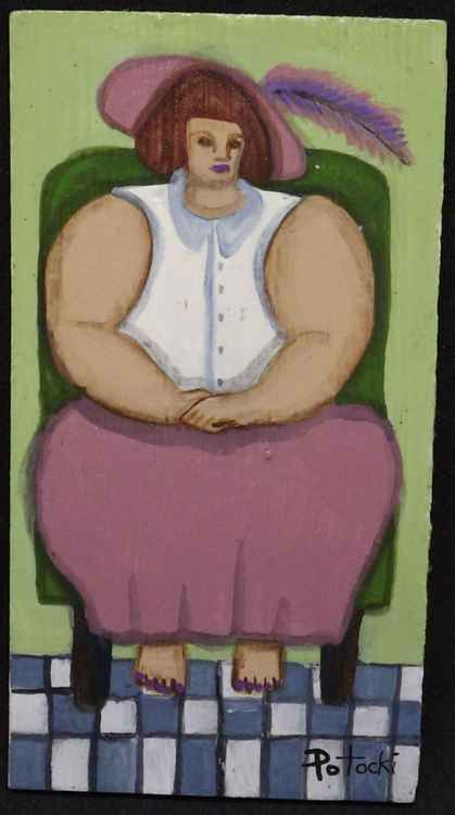 BBW Barefoot Pose  Original Painting on Wood