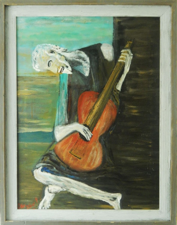 OLD MAN WITH GUITAR INTERPRETIVE BY LORENZ - Image 0