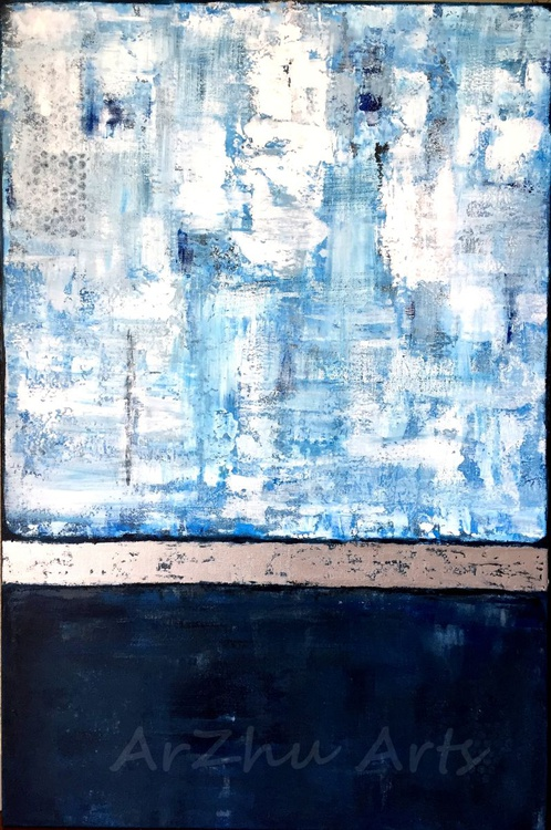 'Mystic Blue' - Blue,White,Silver Large Abstract Art On Canvas - Image 0