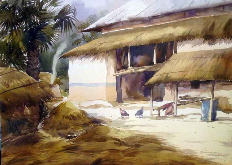 Morning Bengal Village Landscape-Watercolor on Paper