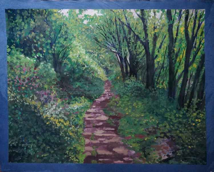 On the spot.  Path through the woods, Lamorna. -