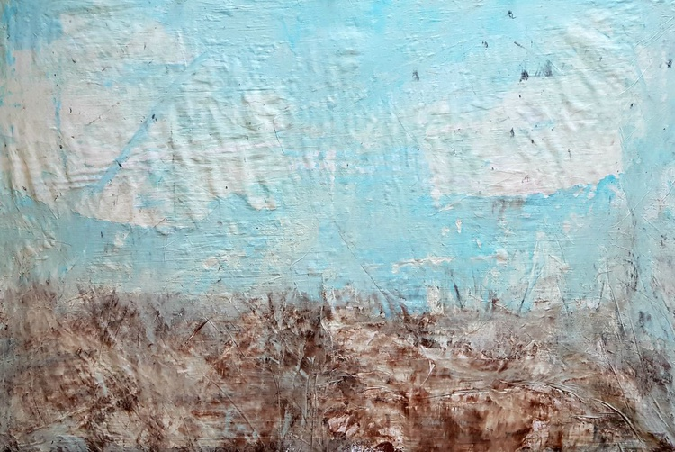 Senza Titolo 189 - abstract landscape - 90 x 60 x 2,50 cm - ready to hang - acrylic painting on stretched canvas - Image 0
