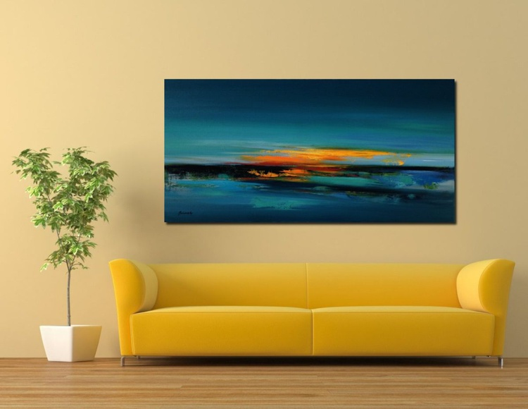Take me to the Lake - 50 x 100 cm, turquoise, red, orange, blue abstract landscape oil painting - Image 0