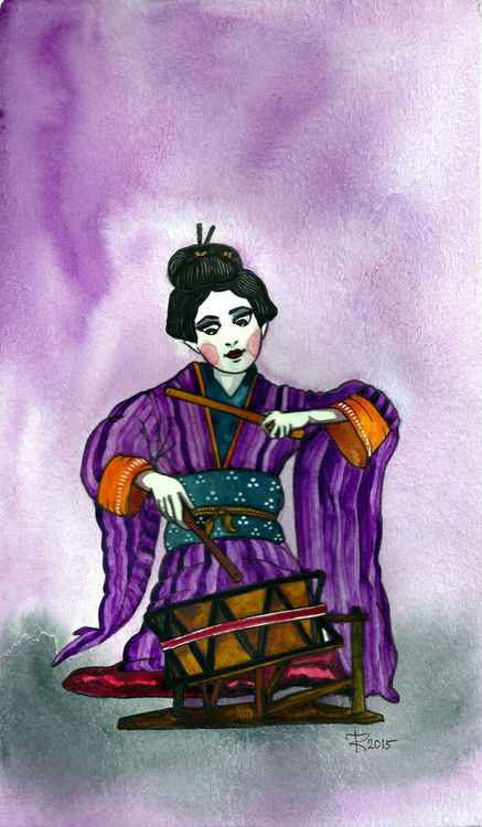 Geisha Musician in Purple