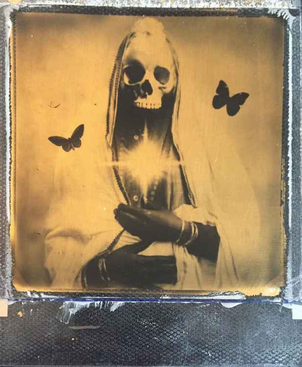 Morning sun  -24ct Gold Leaf Polaroid Collage
