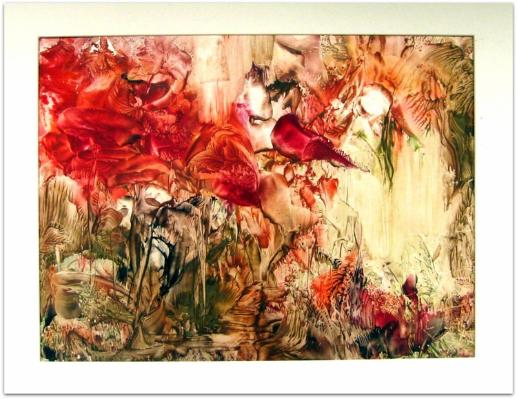 """12""""x16"""" matted Encaustic on Paper """"Abstract Nature Fantasy"""" - Image 0"""