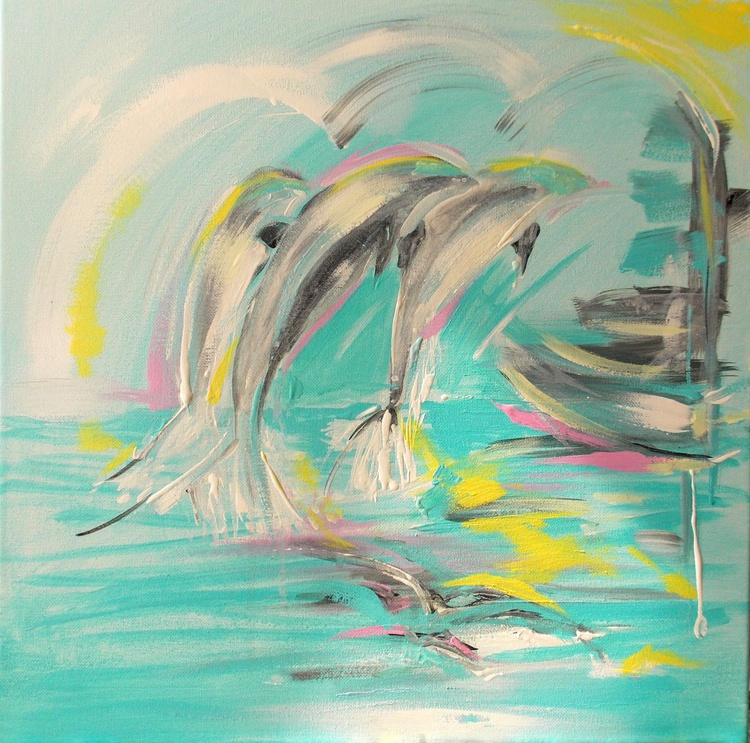 Dolphin family  40 x 40 cm.  Small Gifts - Image 0