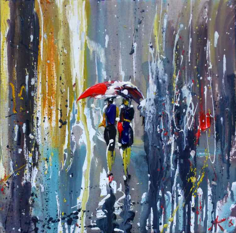 Rain, original oil painting 30x30 cm, gift art, ready to hang!