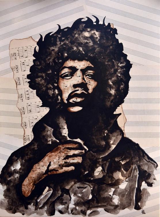 Jimi Hendrix Unfinished Song - Original Acrylic Painting on Decoupage Canvas - Image 0