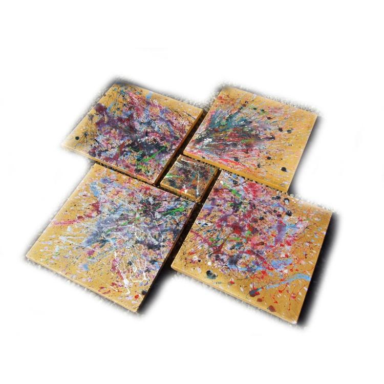 "POLLOCK gold paintings 120x120x2cm ""Nova"" original abstract art acrylic on stretched canvas modern wall art by artist Ksavera - Image 0"