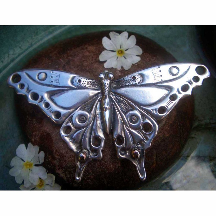 Art Nouveau Butterfly sculpture silver plated lead free pewter butterfly ornament - Image 0