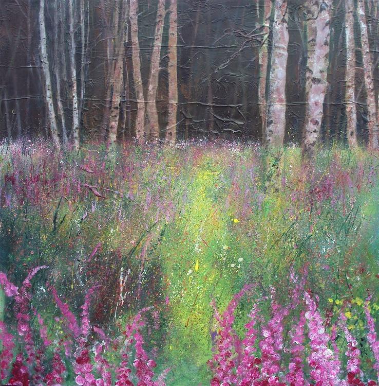 Silver Birch Wood, Pink Foxgloves - Image 0