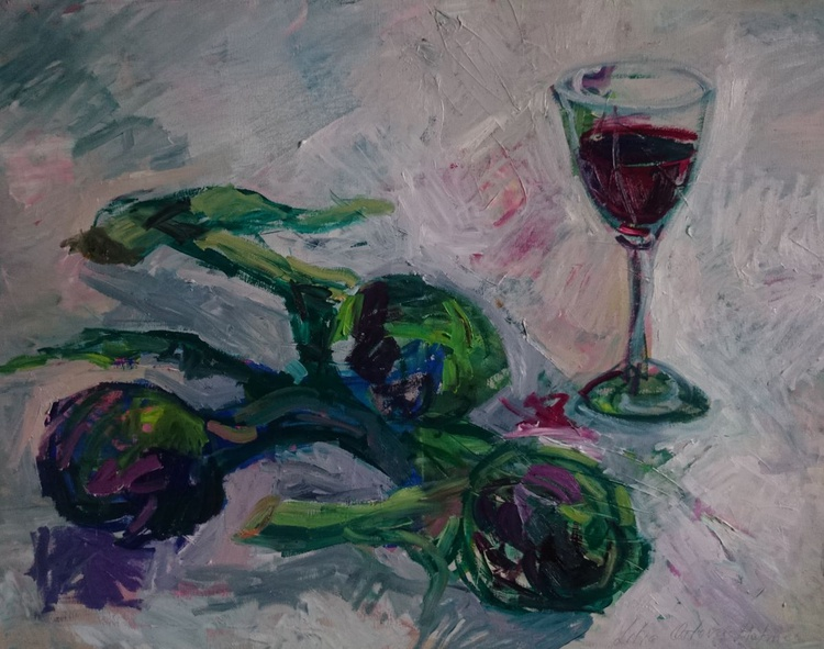 Three artichokes and a glass of red vine - Image 0