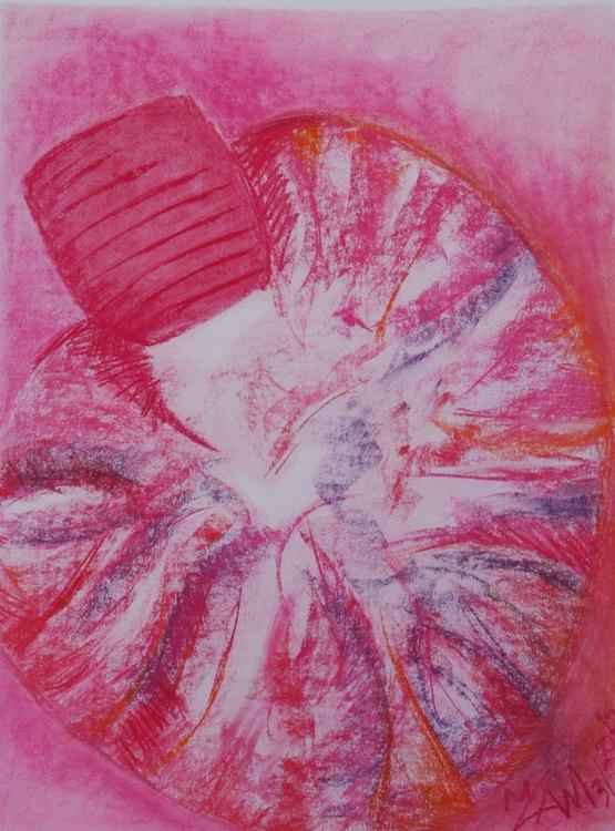Pink snail original abstract pastel drawing - Image 0