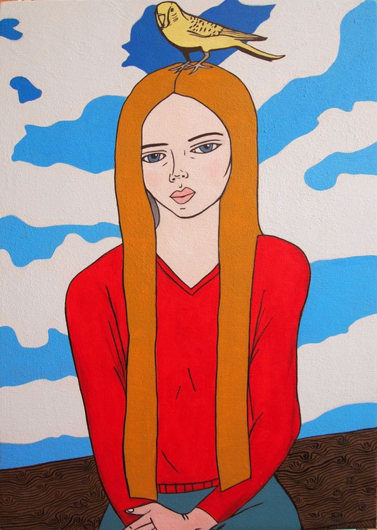 Girl with a Bird and Clouds - Image 0