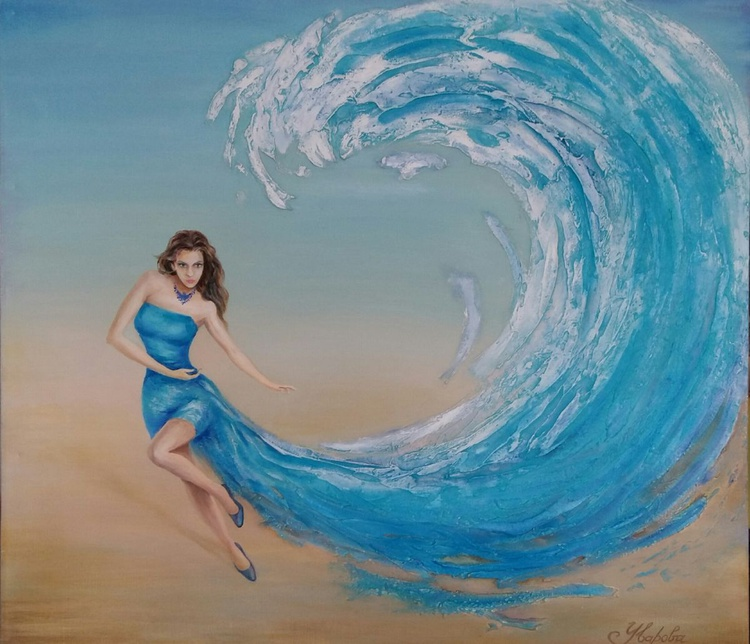 Sea wave, original oil painting, 90x80 cm, FREE SHIPPING - Image 0