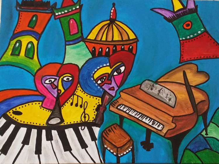 Grand Entrance - Funky Canvas Painting - Image 0