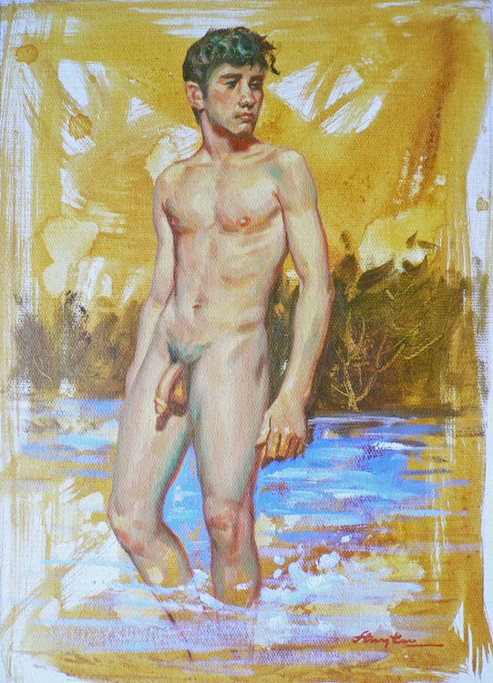 ORIGINAL OIL PAINTING NUDE ART MALE NUDE BOY ON LINEN#16-8-13 - Image 0