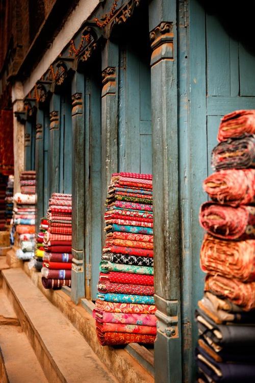 Textile Shop, Bhaktapur. (84x119cm) - Image 0