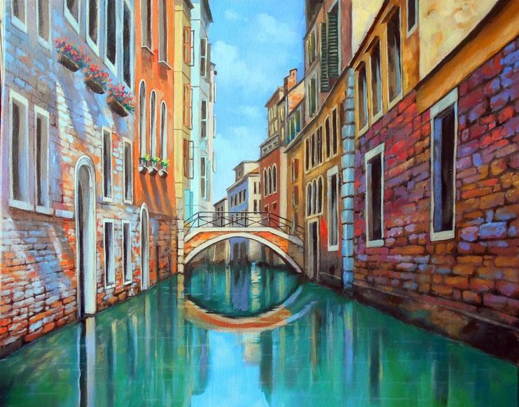 Magic Venice, Original oil on canvas, Free Shipping - Image 0