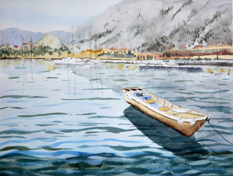 Boat and Panoramic view of Kotor, Montenegro - original watercolor landscape painting by Nenad Kojić - Image 0