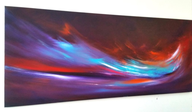 With Gusto- Large Panoramic, XL, 120x50cm, seascape, abstract, Modern Art Office Decor Home - Image 0
