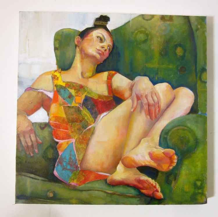 "Wailani in the Green Chair 20""x20"" Original Oil on Canvas"