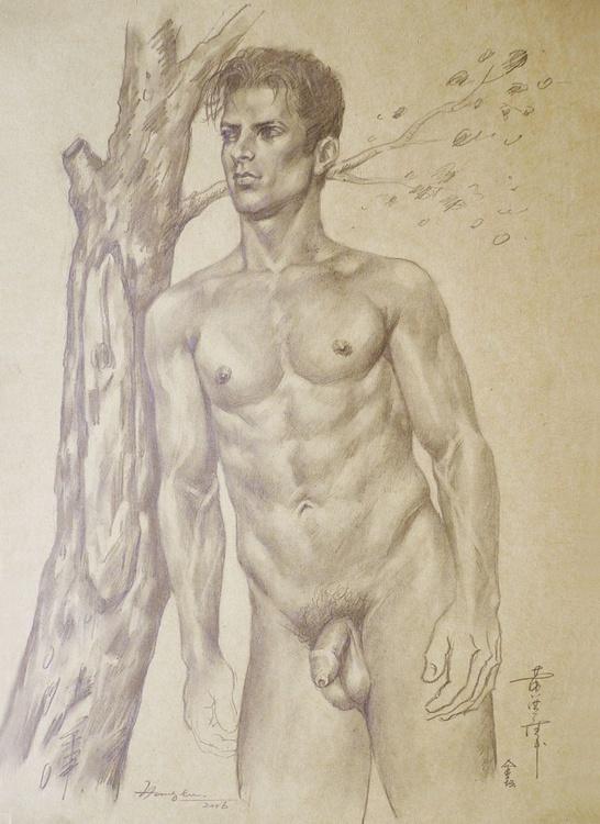 ORIGINAL DRAWING PENCIL  ART MALE NUDE MAN ON BROWN PAPER#16-6-22 - Image 0