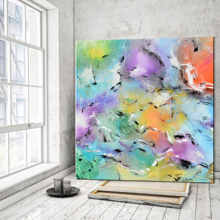 Eyes on the Sky #2-  Large abstract Handmade Painting, Modern Canvas Wall Art Blue, Green, Orange - Image 0