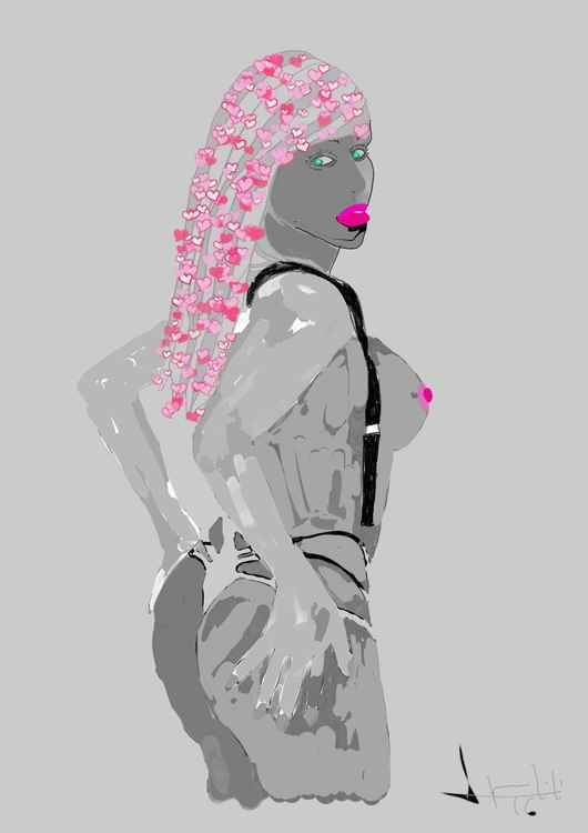 Gardenia blanc et noir aux cheveux longs d'amour -