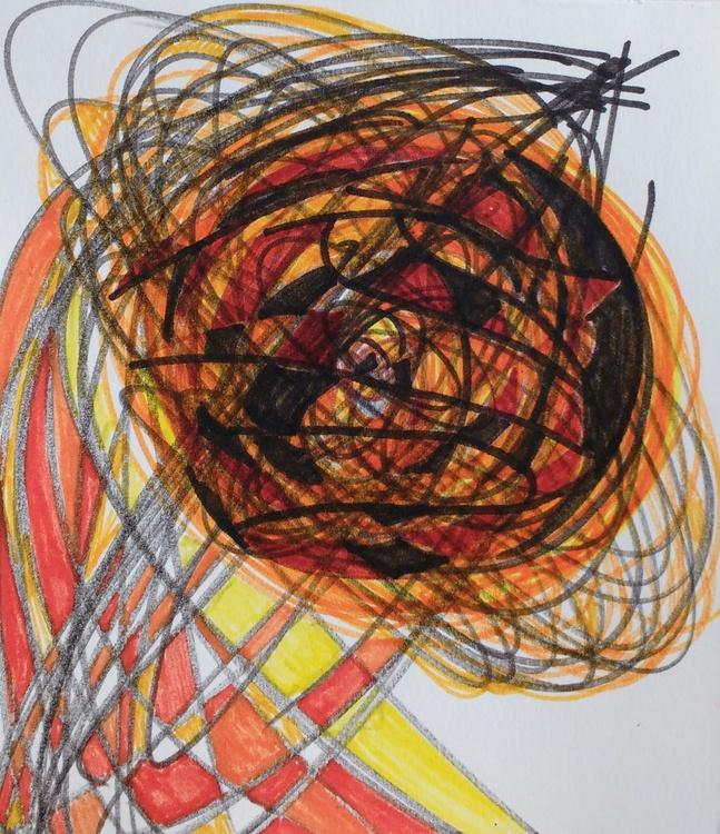 Orange and Brown Energyball Drawing (13cm x 14cm) - Image 0