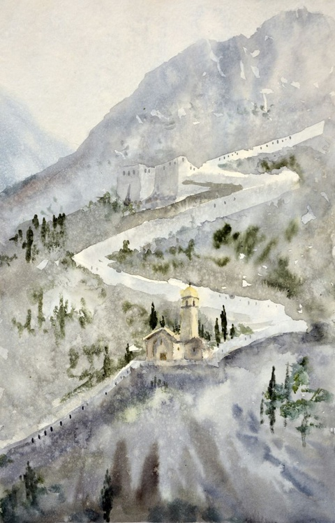 Walls of old town Kotor, Montenegro - original watercolor art painting by Nenad Kojić - Image 0
