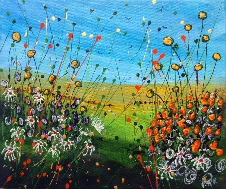 Sheep grazing and Orange Flowers - Image 0