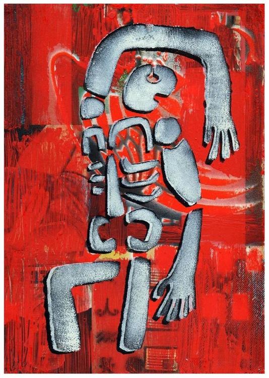 'Sheltering Figure (Red Rain)' - Image 0
