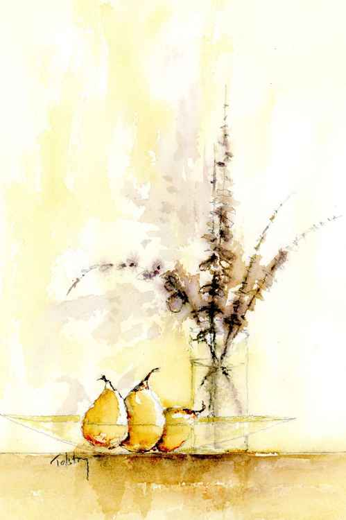 Three pears and a Vase