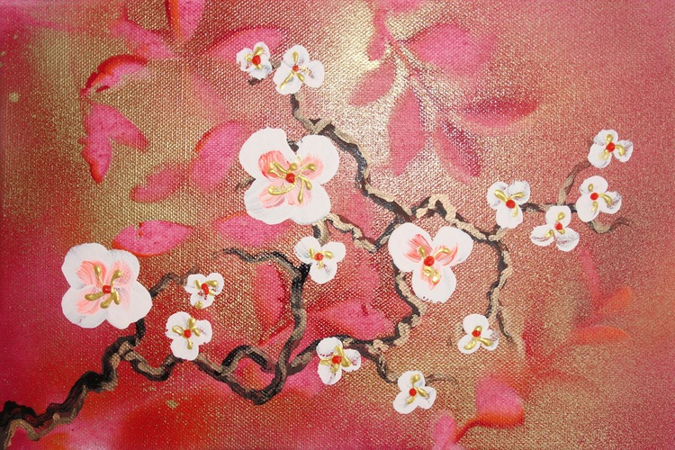 red Cherry blossom a21 30x20cm floral painting flowers decor original floral art acrylic on stretched canvas spring sakura art wall art by artist Ksavera - Image 0