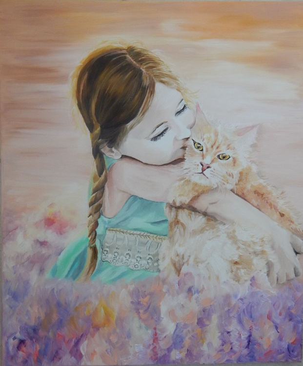 ''Enjoy the moment''-oil on canvas painting ,child with a cat in a field of flowers - Image 0