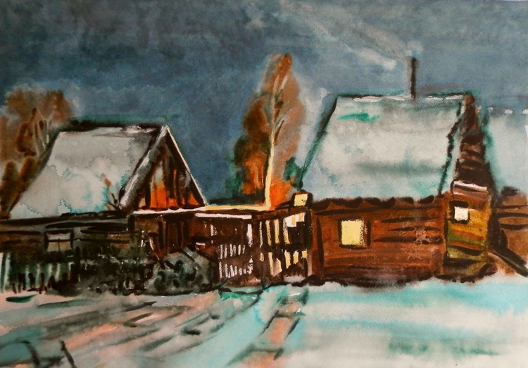 Winter in the village, 80x60 cm - Image 0